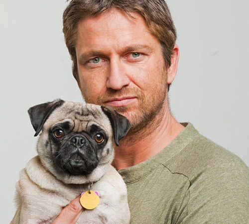 Gerard James Butler with dog