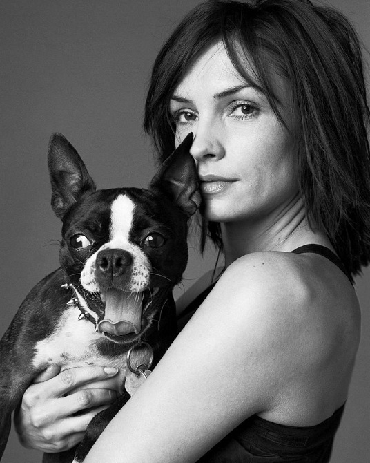 Famke Janssen boston terrier