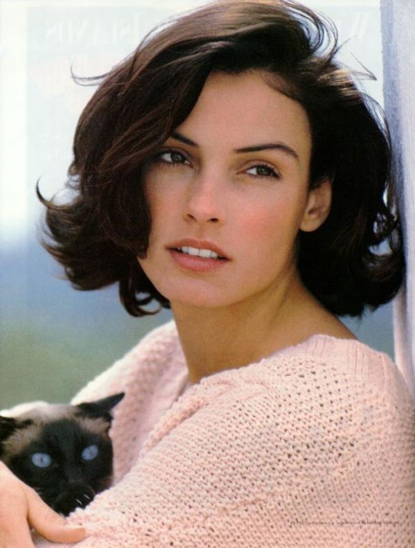 Famke Janssen with cat