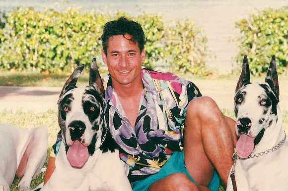 Greg Louganis with great danes
