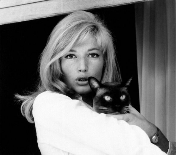 Monica Vitti with cat