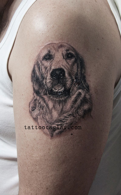 the 20 coolest golden retriever tattoo designs in the world. Black Bedroom Furniture Sets. Home Design Ideas