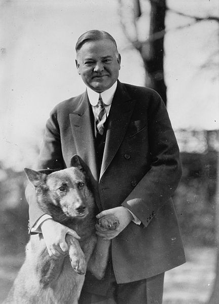Herbert Hoover with his dog King Tut