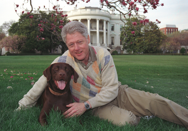 Bill Clinton and his dog Buddy