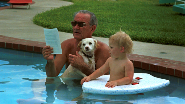 President Johnson White House pool his dog