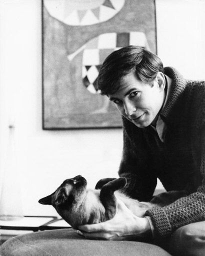 Anthony Perkins with his cat