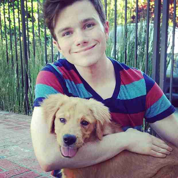 Chris Colfer with dog