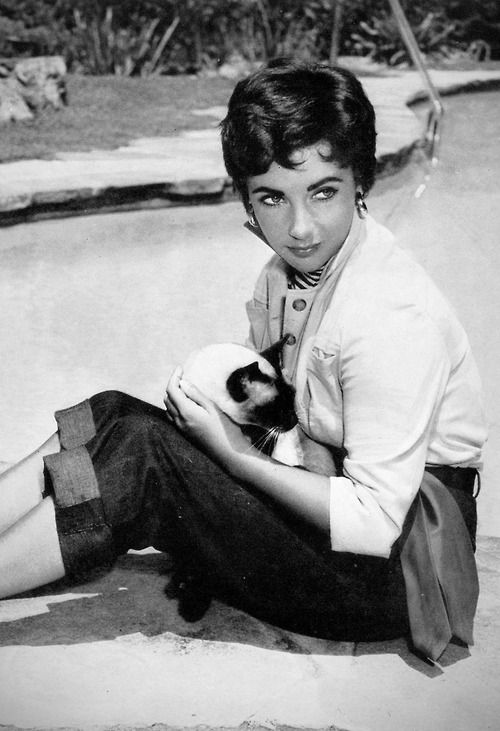Elizabeth Taylor with cat