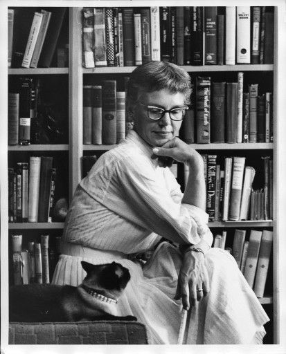 Helga Sandburg with cat
