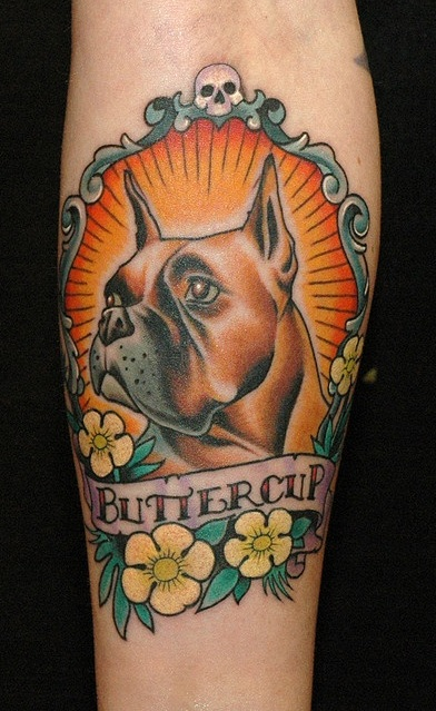 boxer dog tattoo design