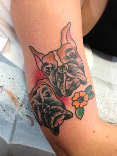 boxers dog face tattoo design