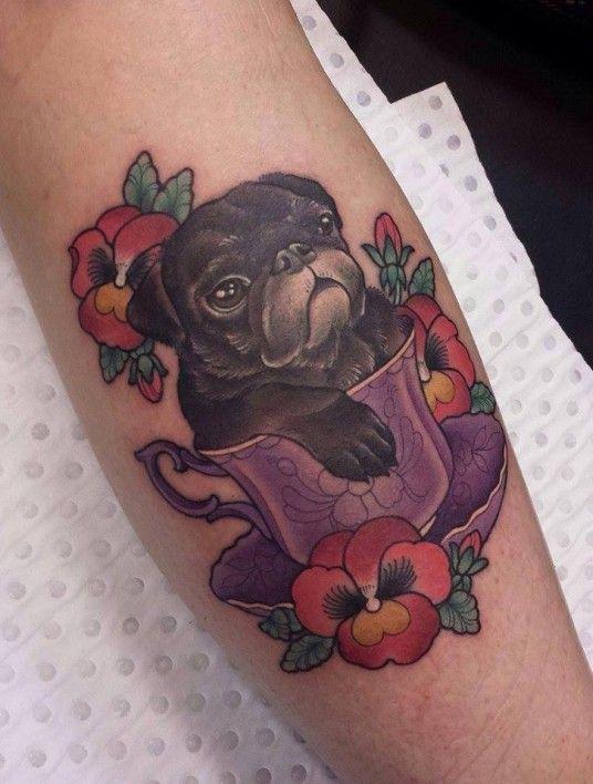 pug 3d tattoo design