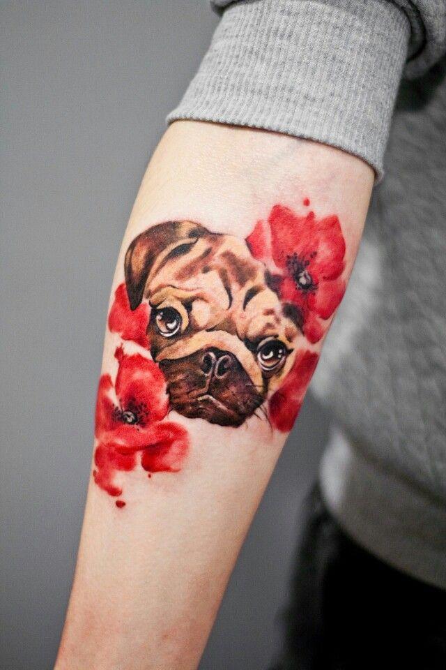 pug tattoo design for girls