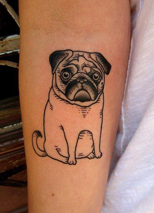 pug tattoo design miniature
