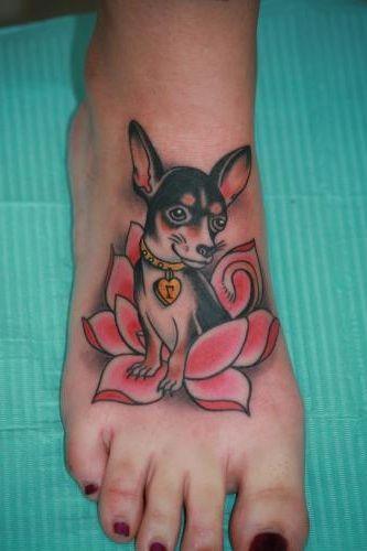 Chihuahua tattoo for feet