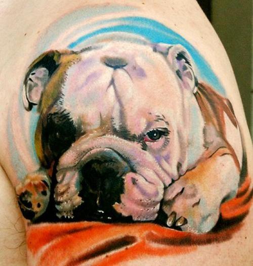English Bulldog dog tattoo