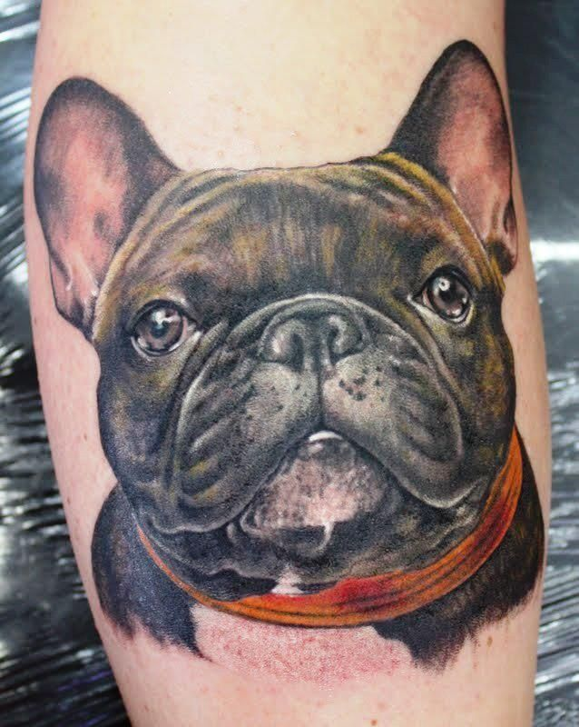 French Bulldog 3d tattoo