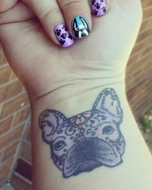 French Bulldog tattoo wrist