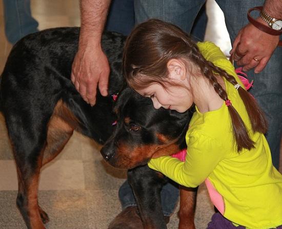 Rottweiler love hug