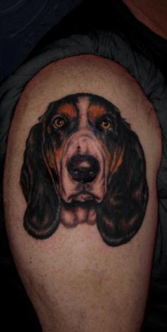 basset hound knee tattoo