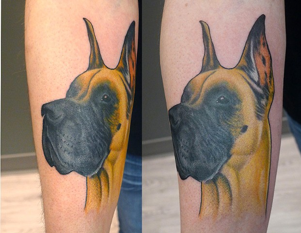 beautiful great dane design tattoo