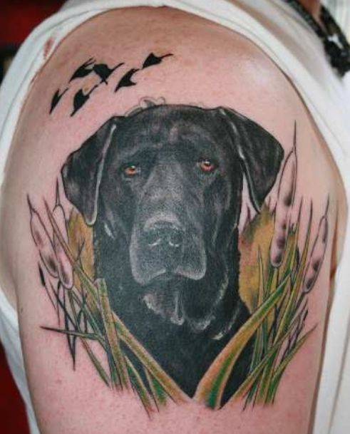 black dog labrador tattoo