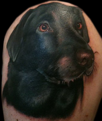 black photo labrador tattoo