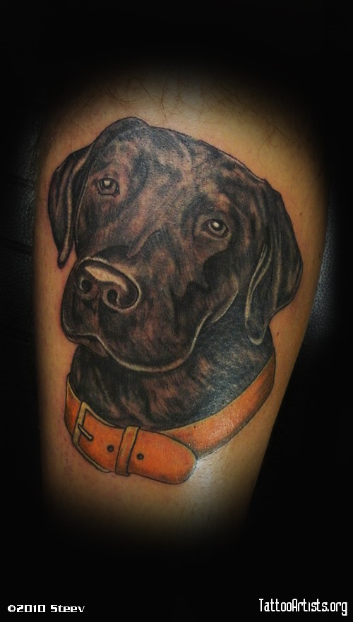 black pup labrador tattoo