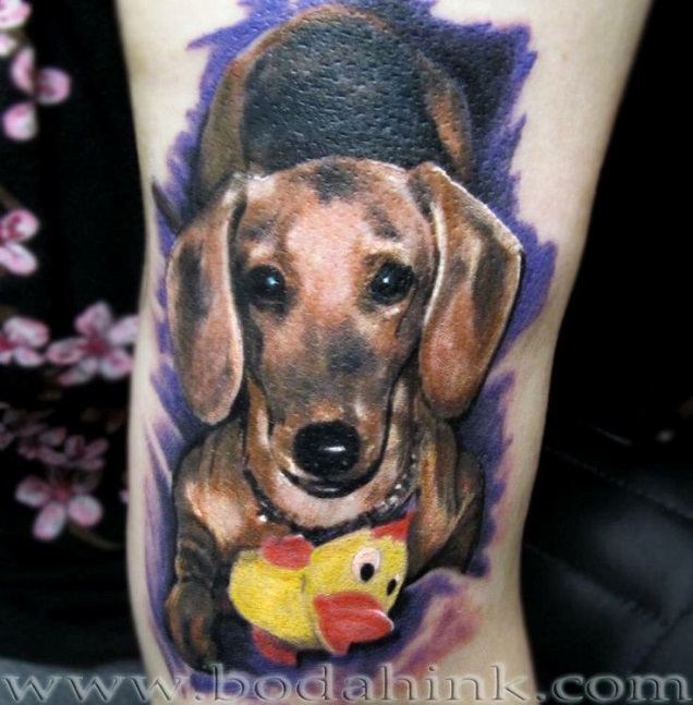 color dachshund tattoo