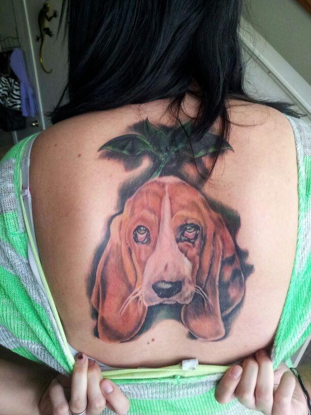 color tattoo basset hound women