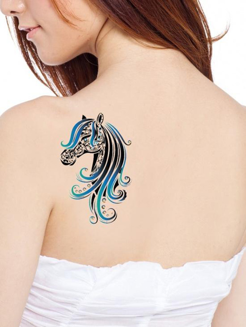 color tattoo horse lady