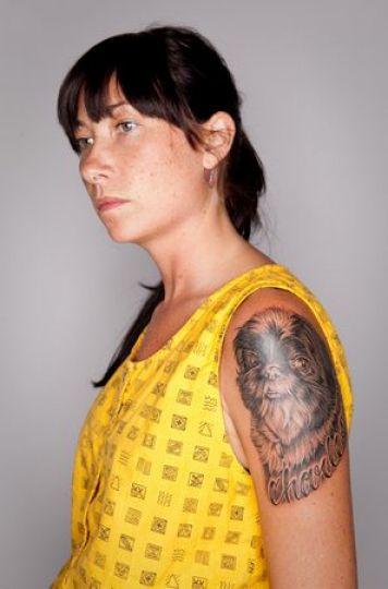 cute woman shih tzu tattoo