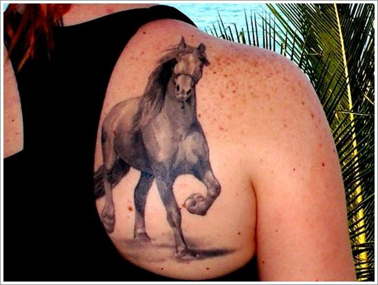 design horse tattoo back 3d