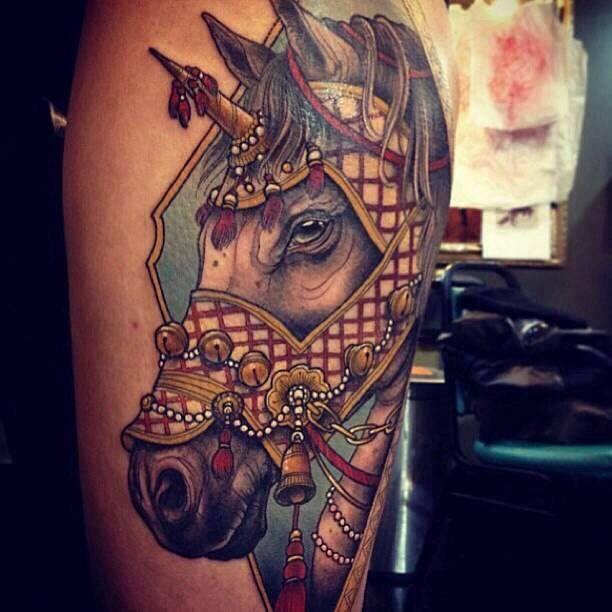 design horse tattoo face