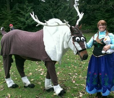 dressed as Sven from Frozen