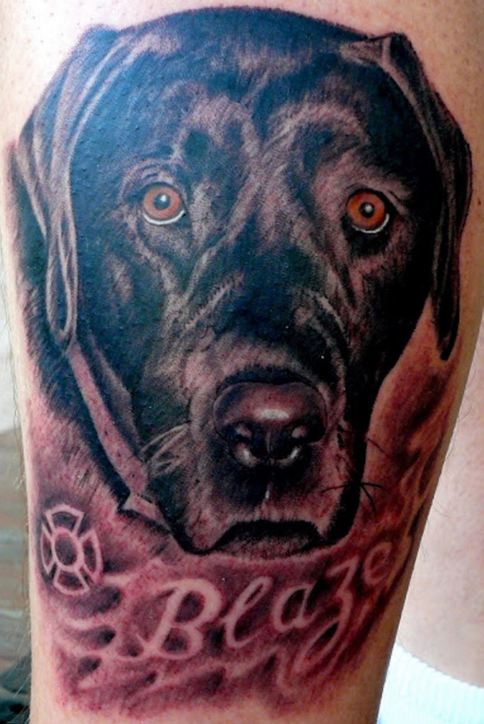 eyes face labrador tattoo