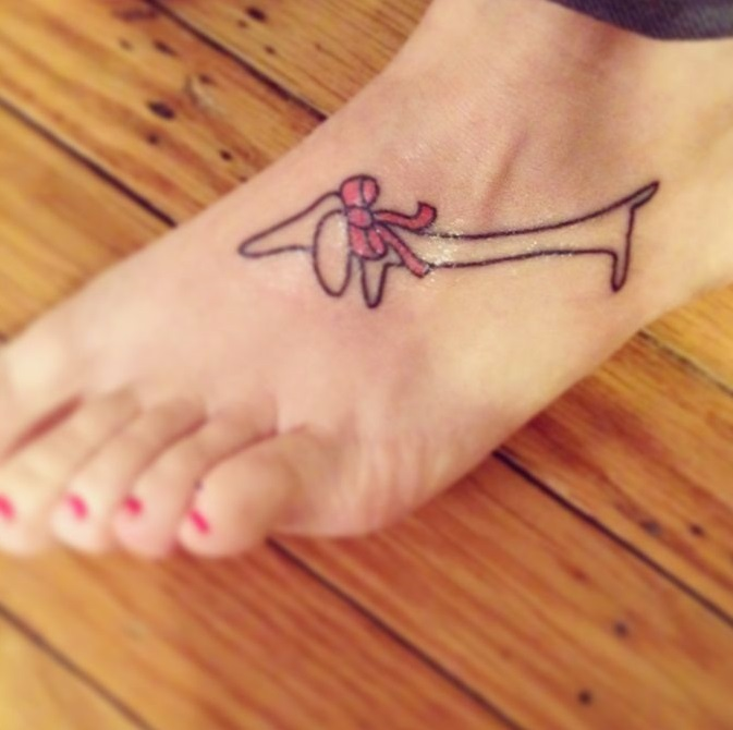 feet dachshund tattoo women
