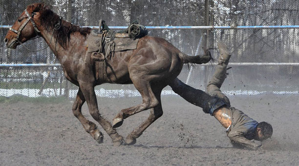 horse riding photo falling dirty