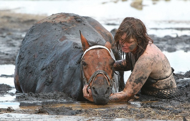 horse safe woman mud