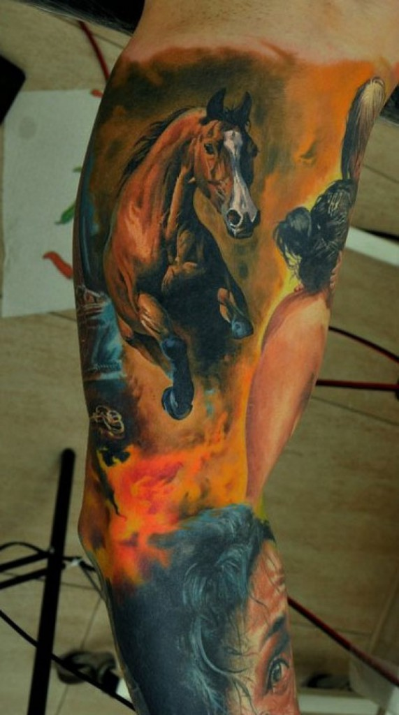 horse tattoo photo leg color