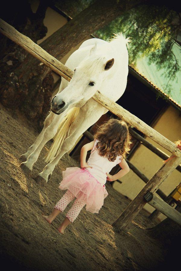 little girl talking friend horse