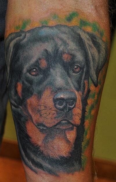 rottweiler tattoo design hand2