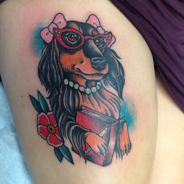 stylish dachshund tattoo
