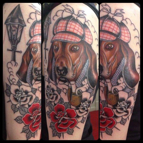 stylish tattoo basset hound flowers