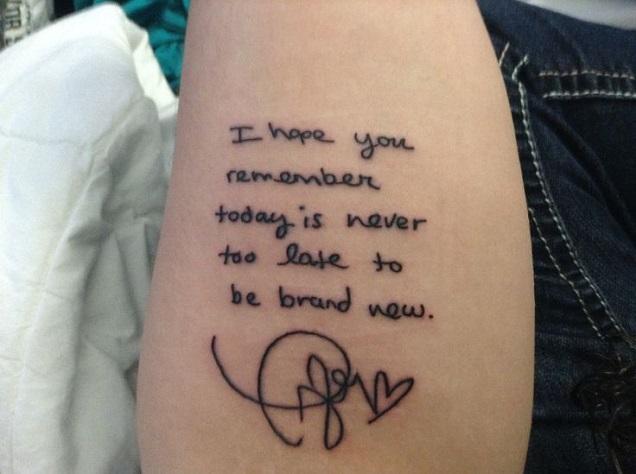 taylor swift lettering tattoo