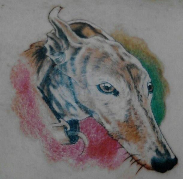 whippet portrait tattoo design