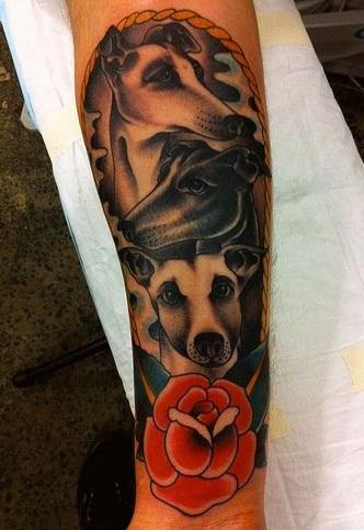 whippet tattoo design