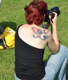 women back corgi tattoo