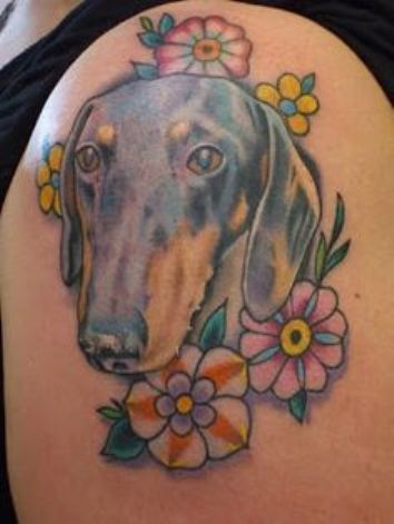 women dachshund tattoo color