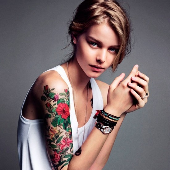 amazing color flowers tattoos women arms